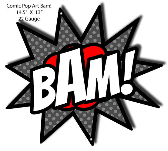 BAM Comic Pop Art Laser Cut Out Wall Art Metal Sign 13x14.5