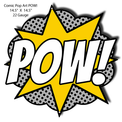POW Comic Pop Art Laser Cut Out Nostalgic Metal Sign 14.5x14.5