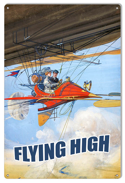 Flying High Nostalgic Reproduction Aviation Metal Sign 12x18