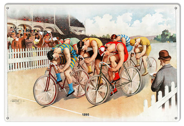 Bicycle Race Year 1895 Reproduction Garage Art Metal Sign 12x18