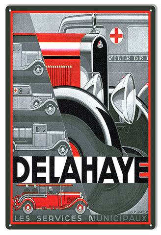 Delahaye Automobile Reproduction Garage Shop Metal Sign 12x18