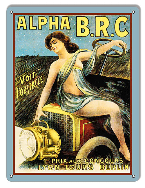 Alpha B.R.C Automobile Reproduction Garage Art Metal Sign 9x12
