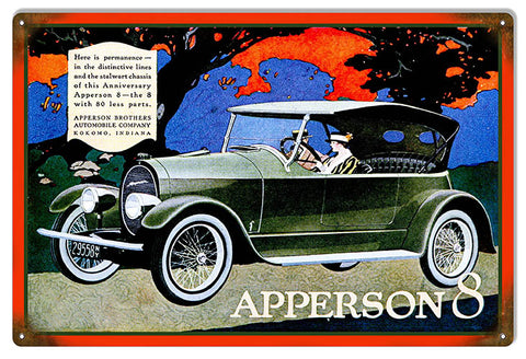 Apperson 8 Automobile Reproduction Garage Shop Metal Sign 12x18
