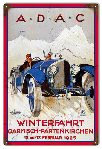 Winterfahrt Vintage Car Reproduction Garage Art Metal Sign 12x18