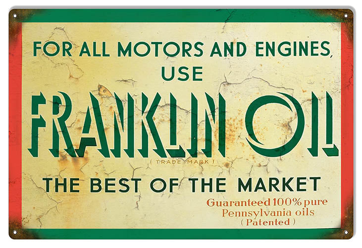 Franklin Motor Oil Reproduction Gas Station Garage  Metal Sign 12x18