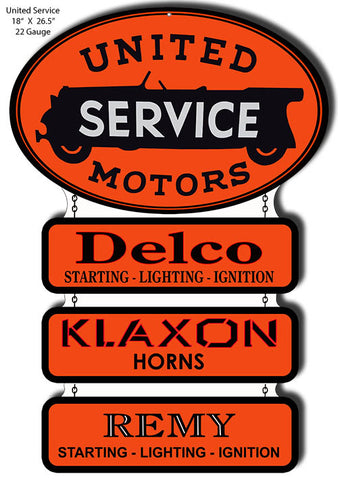 United Motors Cut Out Reproduction Garage Art metal Sign18x26.5