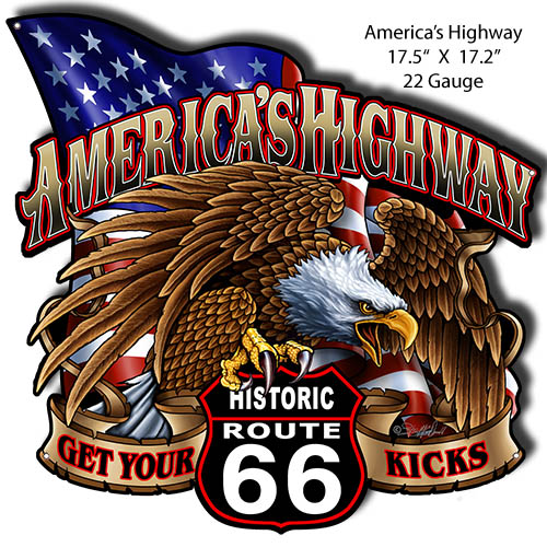 Route 66 Cut Out Garage Art Metal Sign By Steve McDonald 17.2x17.5