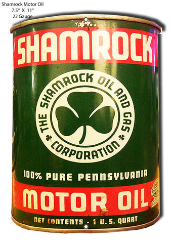 Shamrock Reproduction Motor Oil Can Cut Out Metal Sign 7.5x11
