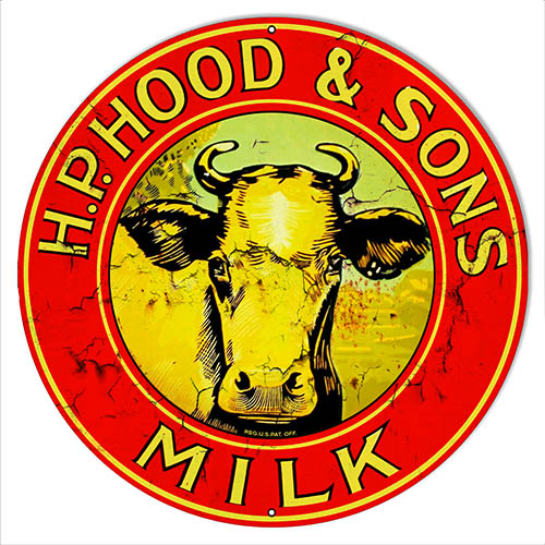 H.P. Hood Sons Milk Reproduction Country Metal Sign 30 Round