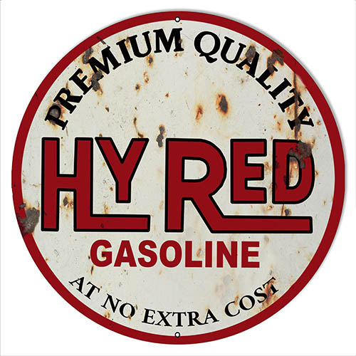 Hy Red Motor Oil Reproduction Vintage Metal Sign 24 Round