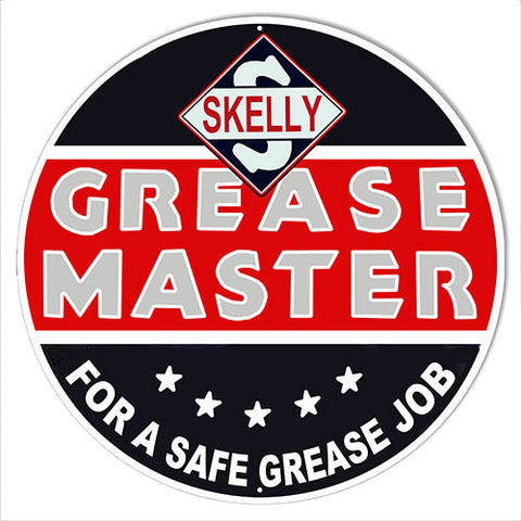 Skelly Grease Master Reproduction Garage Metal Sign 24 Round