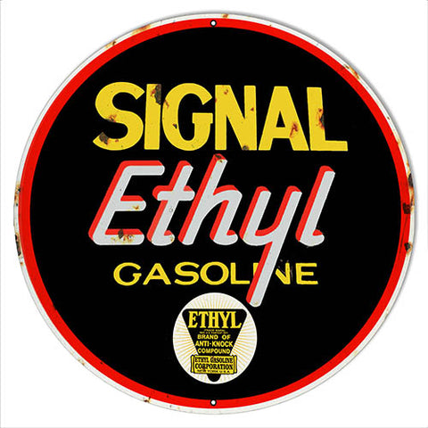 Signal Ethyl Gasoline Reproduction Metal Sign 24x24