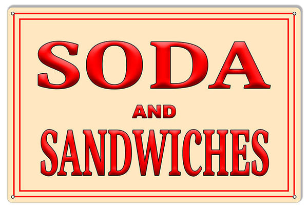 Soda and Sandwiches Reproduction Metal Sign 12X18