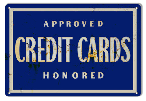 Approved Credit Cards Vintage Reproduction Metal Sign 9x12