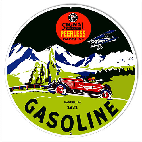 Signal Peerless Gasoline Reproduction Metal Sign 14x14