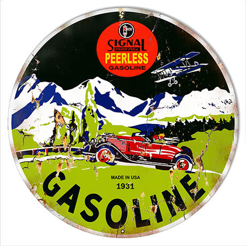 Signal Peerless Gasoline Vintage Reproduction Metal Sign 30x30