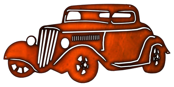 Hot Rod Faux Copper Laser Cut Out Metal Sign 24x11.5