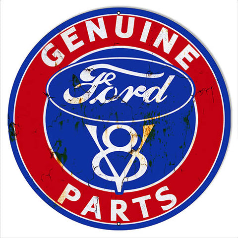Genuine Ford Parts Vintage Reproduction Metal Sign 24x24