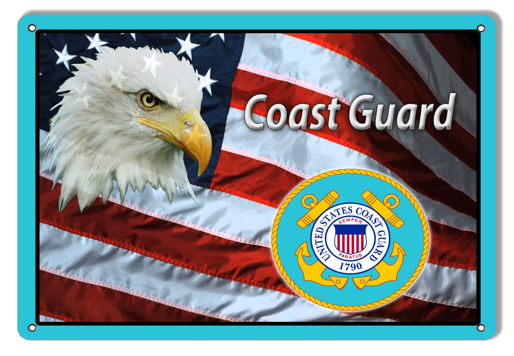Coast Guard American Flag Reproduction Metal Sign 9x12
