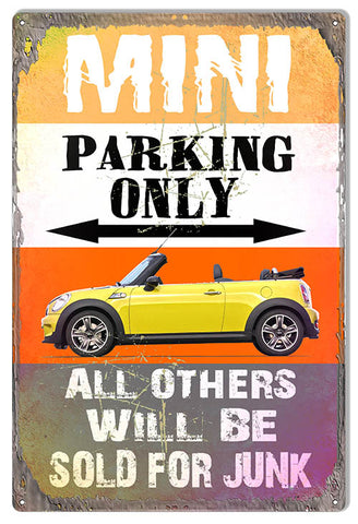 Mini Parking Only Metal Sign By Phil Hamilton 12x18