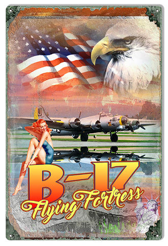 V-17 Flying Fortress Metal Sign By Phil Hamilton 12x18
