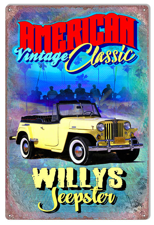 American Vintage Classic Willys Jeepster Metal Sign By Phil Hamilon 12x18