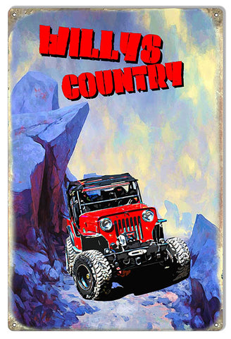 Willys Country Jeep Metal Sign By Phil Hamilton 12x18