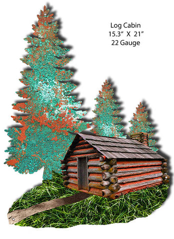 Log Cabin Faux Petina Laser Cut Out By Phil Hamilton 15.3x21