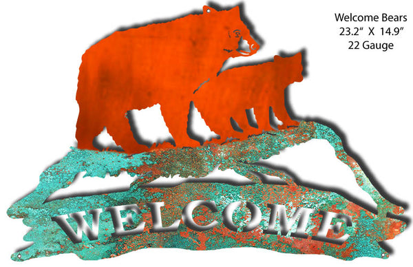 Welcome Bears Faux Petina Laser Cut Out By Phil Hamilton 23.2x14.9