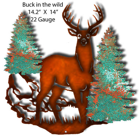 Buck In The Wild Faux Patina Laser Cut Out By Phil Hamilton 14.2x14