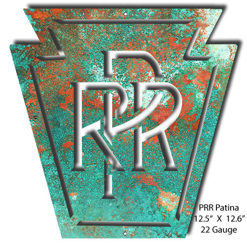 Pennsylvania Railroad Faux Patina Herald Vintage Metal Sign 12.5x12.6