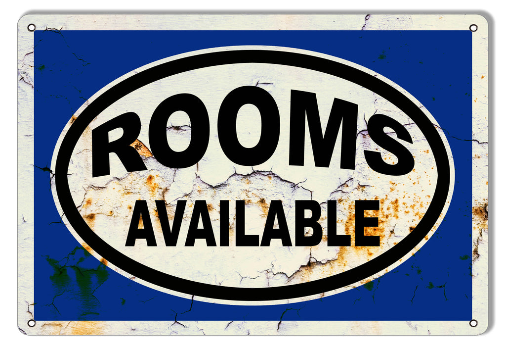 Rooms Available Vintage Metal Sign 9x12