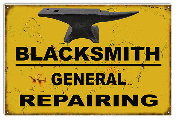 Blacksmith Repairing Shop Reproduction Metal Sign 12x18