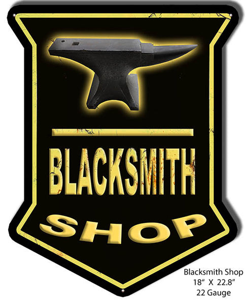 Blacksmith Shop Reproduction Metal Sign 18x22.8