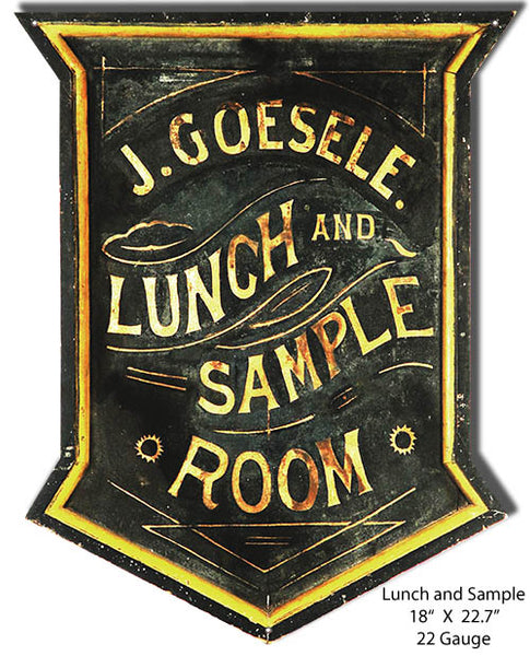 J. Guesele Lunch and Sample Room Vintage Metal Sign 18x22.7