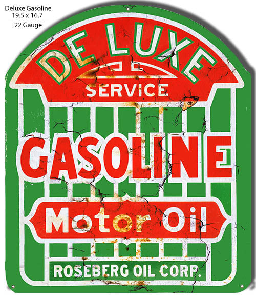 DeLuxe Gasoline Cut Out Reproduction Motor Oil Metal Sign 16.7x19.5