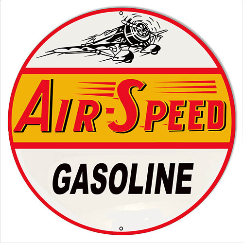 Air Speed Gasoline Reproduction Motor Oil Metal Sign 14x14 Round