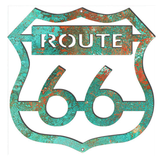 Route 66 Laser Cut Out Faux Patina Garage Art Metal Sign 14.6x14.8