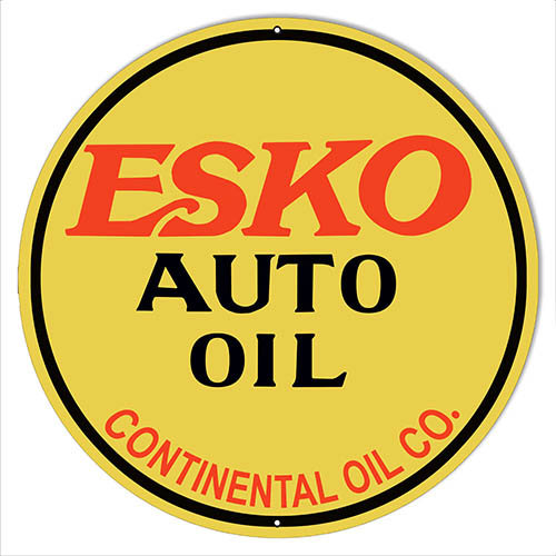 Esko Auto Oil Reproduction Garage Shop Metal Sign 18x18 Round