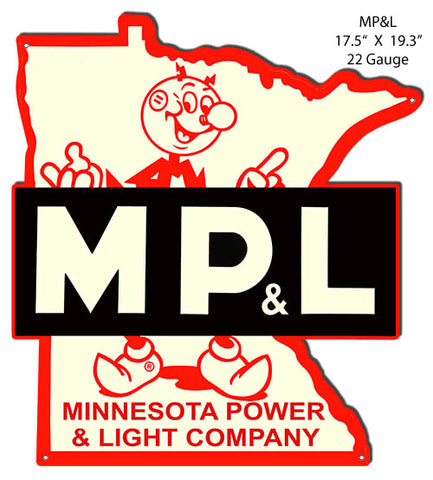 MP&L Power Company Reproduction Cut Out Nostalgic Metal Sign17.5x19.3