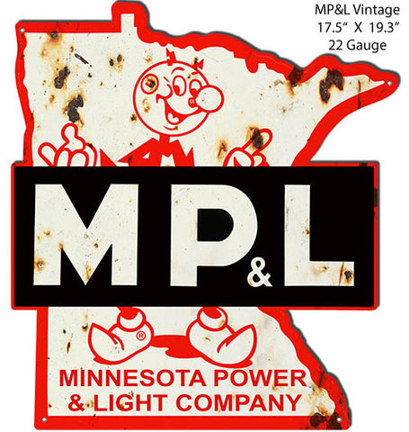 MPL Power Company Reproduction Cut Out Vintage Metal Sign17.5x19.3.