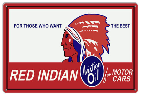 Red Indian Motor Oil Reproduction Garage Shop Metal Sign 12x18