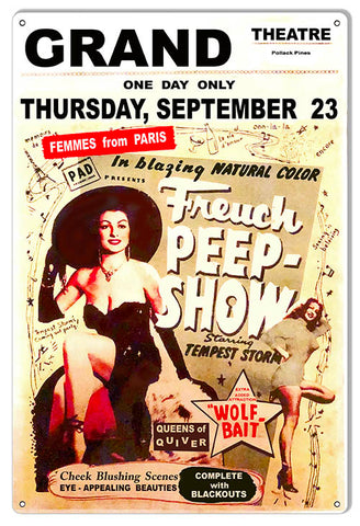 Freuch Peep Show Reproduction Nostalgic Wall Art Metal Sign 12x18