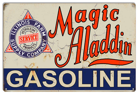 Magic Aladdin Gasoline Reproduction Vintage Motor Oil Metal Sign 12x18