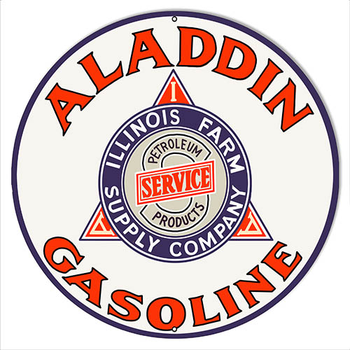 Aladdin Gasoline Reproduction Garage Shop Metal Sign 18x18 Round