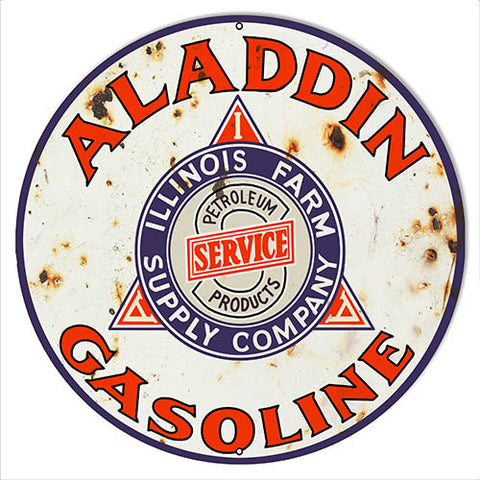 Aladdin Gasoline Reproduction Vintage Metal Sign 14x14 Round