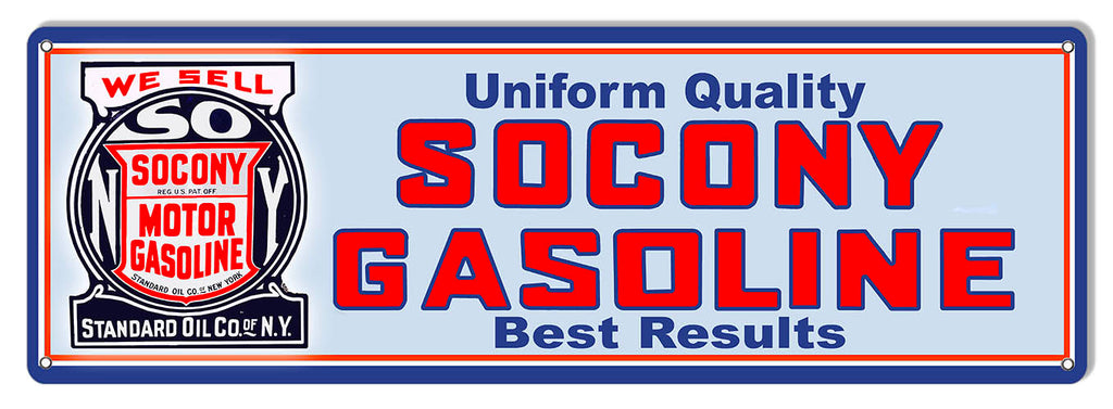 Socony Gasoline Reproduction Large Motor Oil Metal Sign 8x24