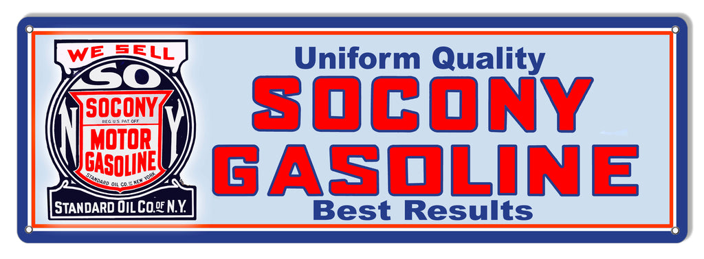 Socony Gasoline Reproduction Motor Oil Metal Sign 6x18
