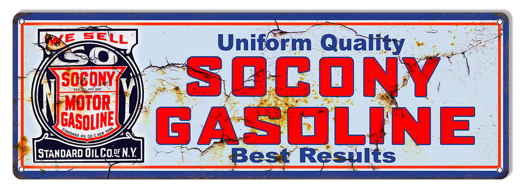 Socony Gasoline Reproduction Vintage Large Metal Sign 8x24