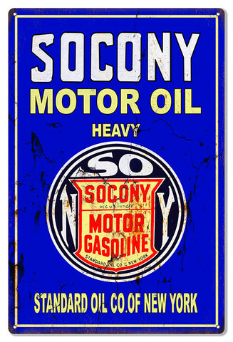 Socony Motor Oil Reproduction Vintage Large Metal Sign 16x24